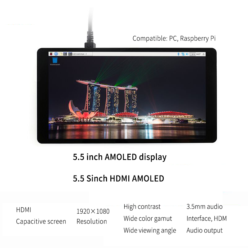 Raspberry Pi LCD AMOLED 5 5 inch 1080P 5inch HDMI Capacitive 1920 1080 Touch screen Module