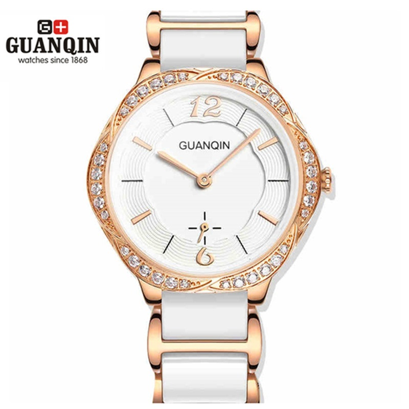 Fashion Ceramic Watch Women GUANQIN Watch Woman High Quality Quartz Luxury Girl Watches 2016 Waterproof Watch Dress Wristwatches real amount of ceramic fashion set auger waterproof quality precision rotary calendar watch brand man woman a good watch
