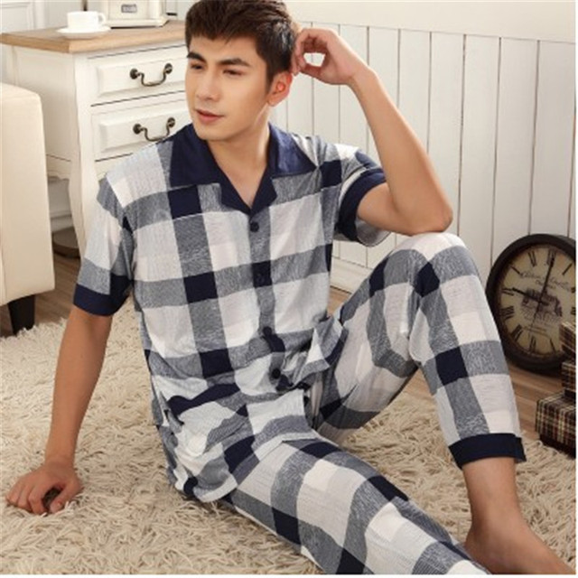 Men's Pajamas Summer Mens Pyjamas Short sleeve + Trousers Cotton Pajama Sets Plaid Lounge Pajamas Men Plus Size 5XL
