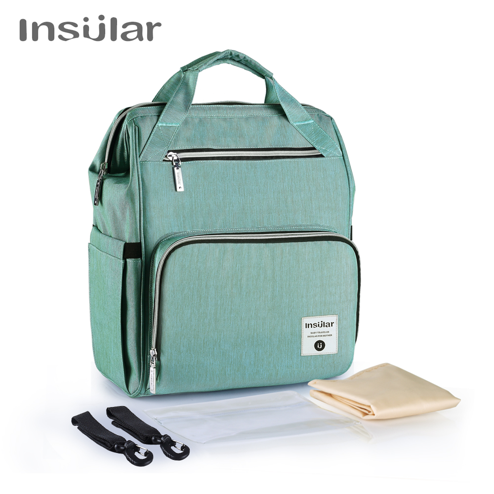 Insular Double Shoulders Large Capacity Backpack Multi functional Waterproof Mummy Bag Mummy Travel Backpack Diaper Bag