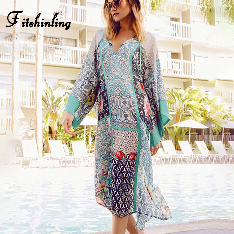 Fitshinling Print floral big size beach dress swimwear mid-calf batwing sleeve oversized pareos robe loose staight dresses women