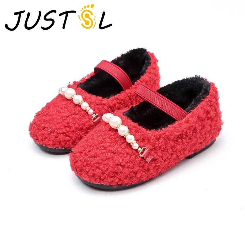 Justsl 2017 на осень-зиму девушки хлопок туфли принцессы теплый утолщение s детские туфли из хлопка маленькие дети плоские туфли размер 26-30
