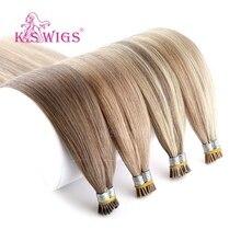 K.S парики 20 ''28'' прямые сложенные пополам волосы я наконечник человеческих волос наращивание Remy на типсах fusion Hair 200 s/pack