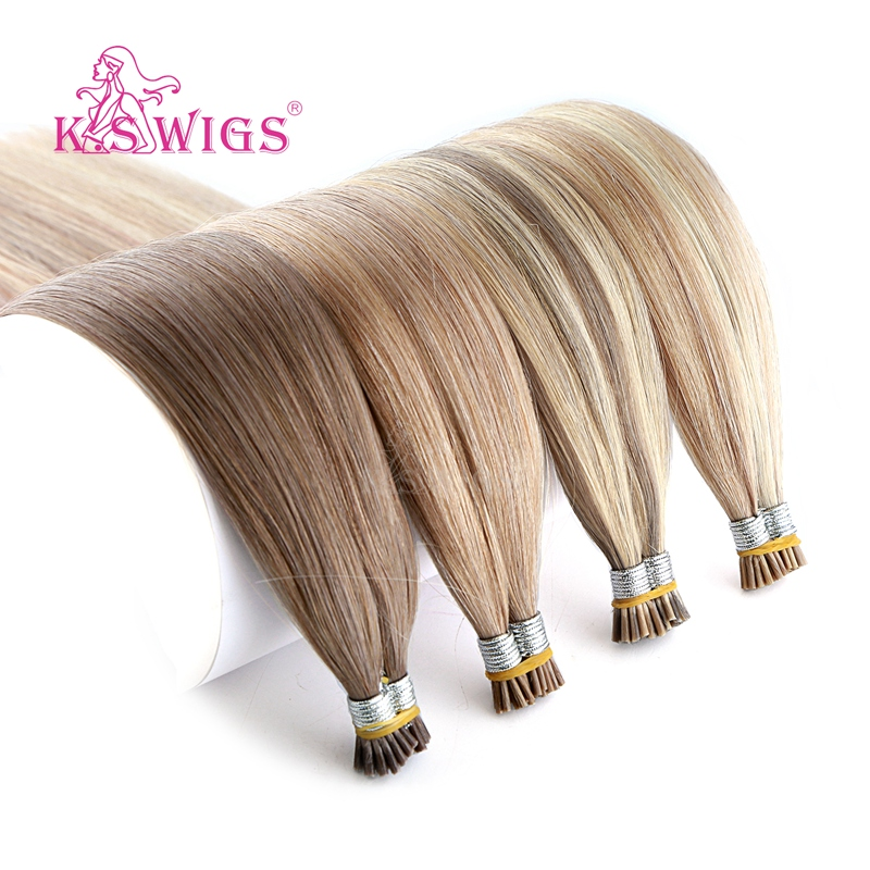 K.S WIGS 20'' 28'' Straight Double Drawn I Tip Human Hair Extension Remy Stick Tip Fusion Hair 200s/pack