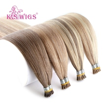 K.S WIGS 20 28 Straight Double Drawn I Tip Human Hair Extension Remy Stick Fusion 200s/pack
