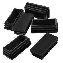 5 Pack 25mmx50mm Plastic Blanking End Cap Rectangle Tubing Tube Inserts 6 Pcs Black