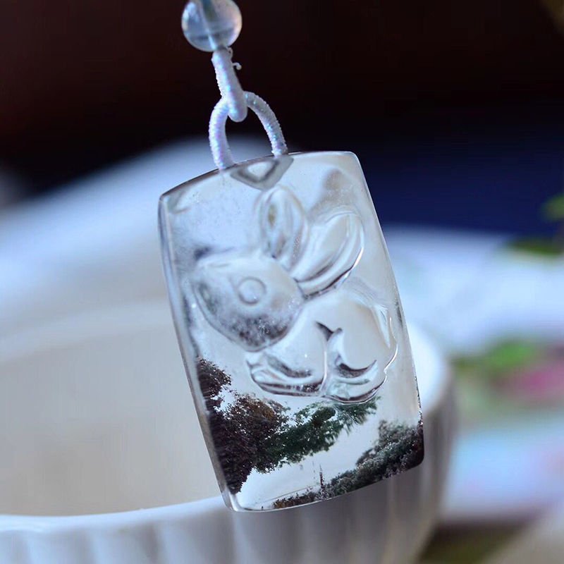 Fine Gost Natural Crystal Pendant Brand Carved Rabbit Pendant Sweater Chain Necklace Lucky for Women Men Energy Crystal Jewelry equte spew20c1 austria crystal merry go round pendant sweater chain necklace white golden 31