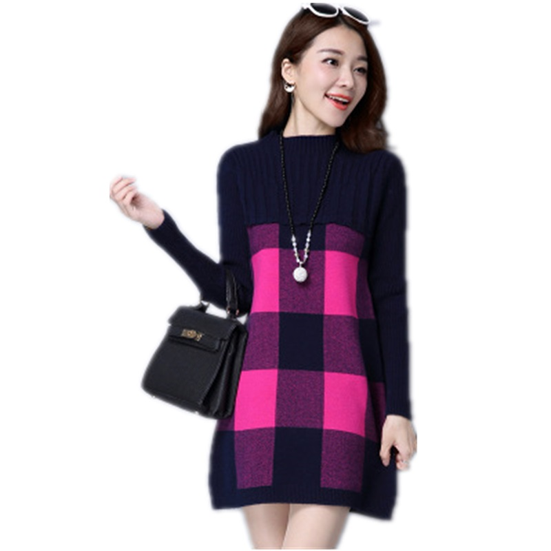 Cashmere Turtleneck Sweater Dress Women Autumn Winter Knitted Dresses Plaid Dot Patchwork Velvet Warm Wool Mini Sweater Dress velvet turtleneck pleated dress