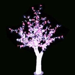 1,5 M 5 pies LED Navidad Año Nuevo cristal claro Árbol de flor de cereza con hojas blancas flores rosadas al aire libre interior impermeable