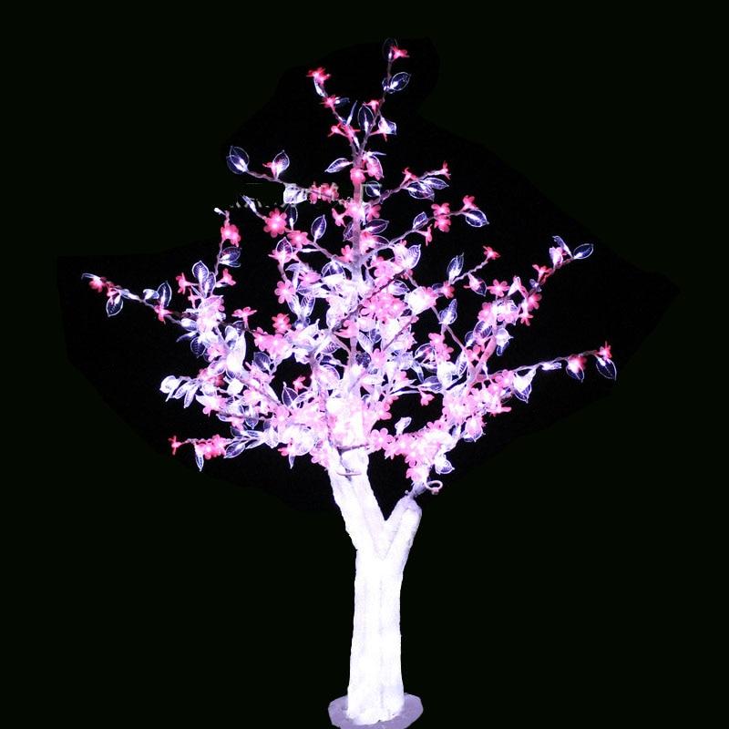 1.5M 5FT LED Karácsonyi újév Könnyű kristály cseresznyevirág fa fehér levelekkel rózsaszín virágok A szabadban beltéri vízálló