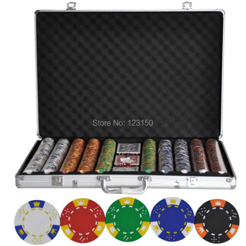 PK-5001 1000pcs chips with case, Clay 14g Poker Chips insert metal, five colors