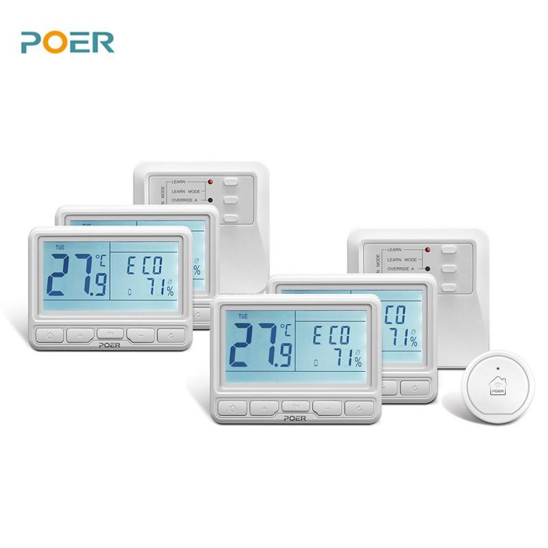 Еженедельный программируемый воды, подпольного отопления Smart терморегулятор 4 термостаты контролируется App
