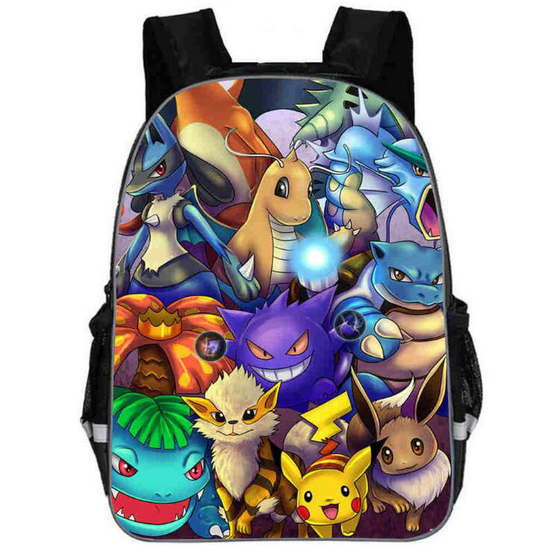 Cute Anime Cartoon Pikachu Backpack Pokemon Cosplay Printing Backpacks School Bags Teenager Girls Boys Mochila Feminina Bag