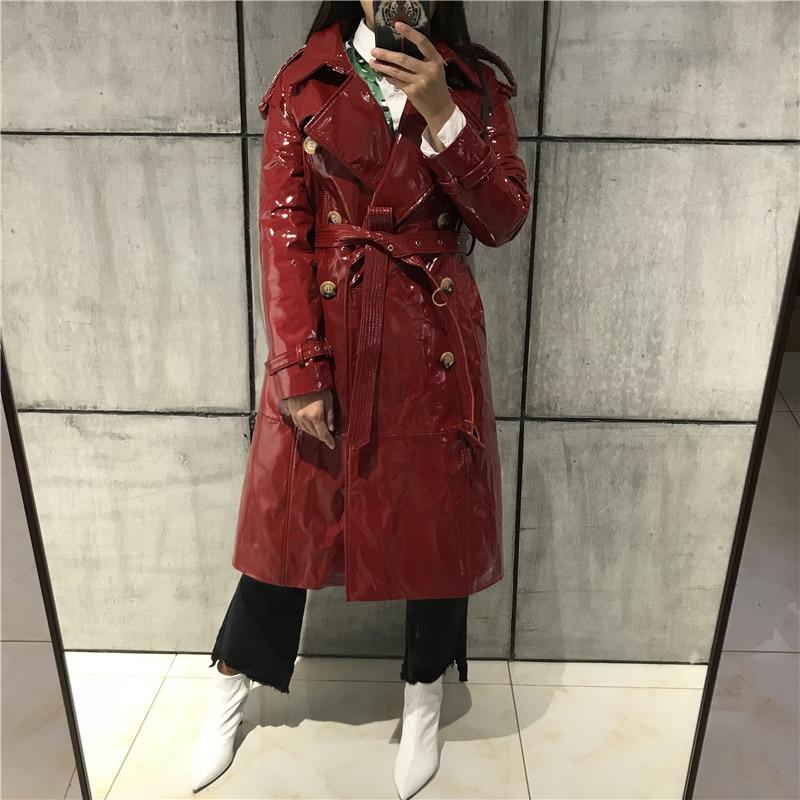 Véritable rose marine Noir Cuir Femmes À En Bleu vent Coupe rouge Long Dames Manteau EFvqT
