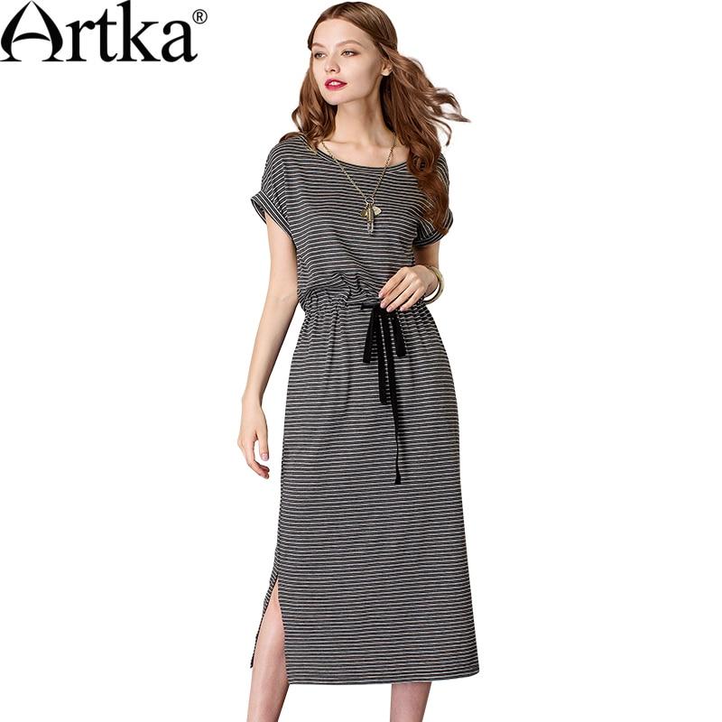 Artka 2018 летние женские Повседневное хлопок полосатый пояса Разделение платье короткий рукав o-шея, талия длинное платье для Для женщин Vestidos