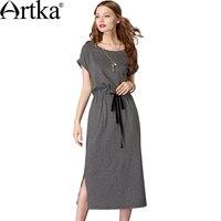 Artka 2018 Summer Female Casual Cotton Striped Sashes Split Dress Short Sleeve O Neck Mid Waist