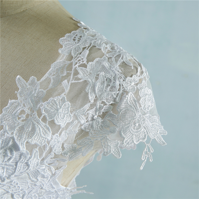 ZJ9085 lace White Ivory Short Cap Sleeve Wedding Dresses 2019 2020 for bride bridal gown Vintage plus size maxi Customer made 6