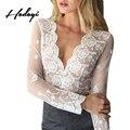 Hodoyi Глубокий V белое кружево блузка зима 2017 осень элегантный сорочка женщина Прозрачный сетка с длинным рукавом блузка рубашка женщины топы