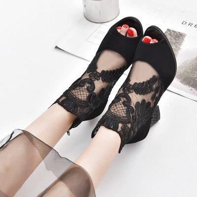 D'été Fine Peu Chaussures 42 Et Profonde Discothèque Avec Grossier 2 Super 1 Dentelle Printemps Nouveau Poissons Imperméable Maillage Bouche Talons Taiwan AOYFZwzq