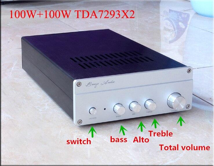 AC220V TDA7293 100W+100W HiFI amplifier With treble alto bass adjustment
