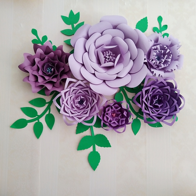 2018 DIY Large Paper Flower Full Kits Tutorials For Wedding Backdrop Decorations Baby Nurseries Special Events Decor With Leave