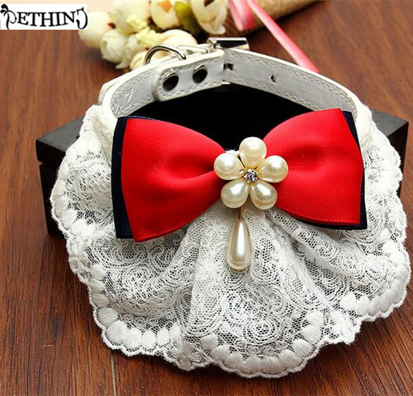 ETHIN New Dog Pet Puppy Collar White Lace Bibs Adjustable Leather Pet Necklace Supplies For Small Cats Chihuahua Teddy S M size