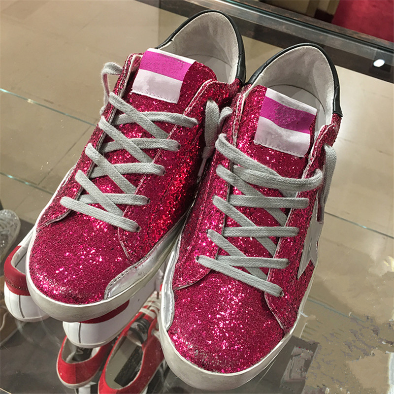 New Women Casual Shoes Glitter Leather Do Old Dirty Shoes Mixed Color Women  Sequins Star trainers Sneakers Zapatos de Mujer 2018 0813a697b23f
