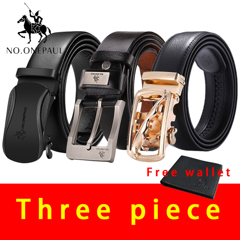 NO.ONEPAUL Luxury brand Men's   belt   leather   belt   men male genuine leather pin buckle and Automatic buckle   belts   3pcs   belts