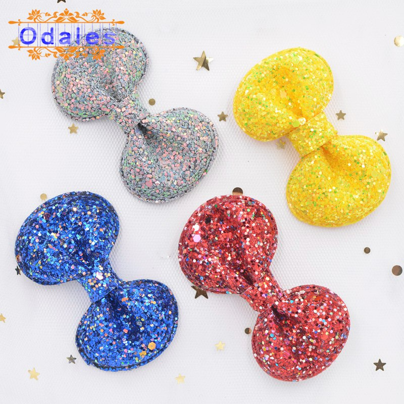 2Pcs 7CM  Shiny Bow Tie Padded Applique Crafts for Children Headwear Hair Clip Accessorie and Garment Accessoires