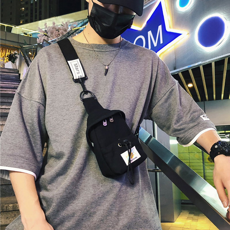 Small Canvas Chest Pack For Men Women Crossbody Bags Hip Hop Streetwear Bag Fanny Pack Multifunction Mini Belt Waist Chest Bag