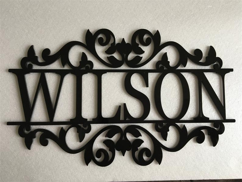 Personalized Family Name and Monogram Laser Cut Out Black Wood Sign