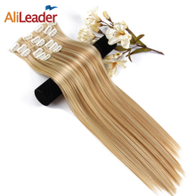 Alileader 6Pcs/Set 22″ Hairpiece 140G Straight 16 Clips In False Styling Hair Synthetic Clip In Hair Extensions Heat Resistant