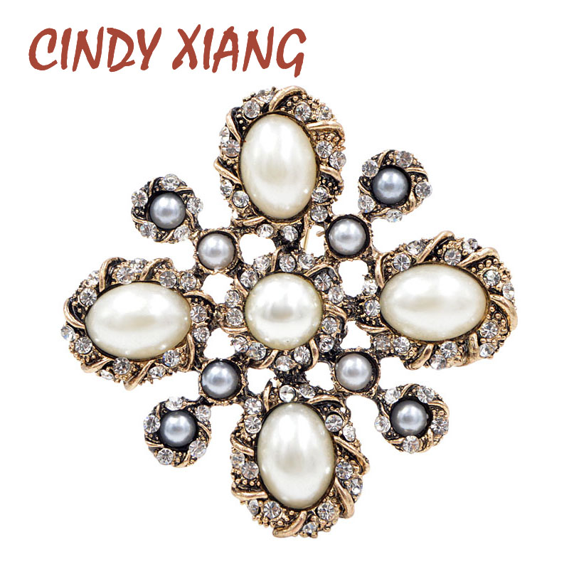 CINDY XIANG 3 Colors Choose Pearl Cross Baroque Brooches for Women Fashion Vintage Brooch Pin Wedding Coat Accessories Good Gift