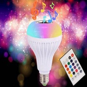 Image 1 - Musica di Bluetooth Intelligente Lampada E27 RGB Wireless Speaker Lampadina 220 V 12 W HA CONDOTTO LA Luce Lettore Audio Dimmable 24 Tasti remote Controller