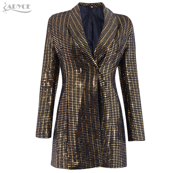 Trench Sexy V Neck Sequines Long Sleeve Women Coats Clubwear Celebrity Party Runway Dress Vestidos