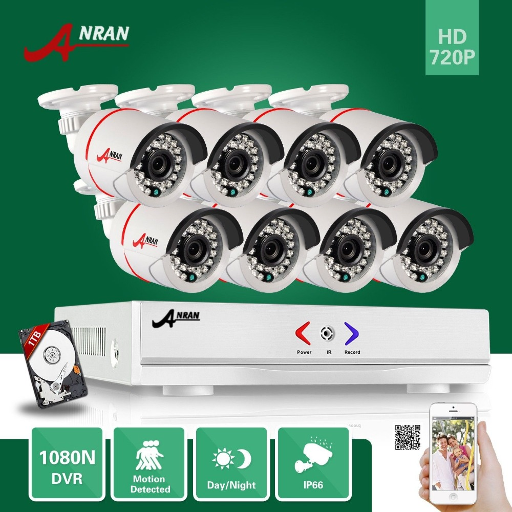 ANRAN 8CH hybrid 1800N HD AHD DVR 1800TVL 720P Waterproof Outdoor 24 IR Day Night Home CCTV Security Camera System With 1TB HDD бра eglo 95768