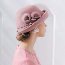 אישה סתיו וחורף מסיבת פורמליות כובע אנגליה אופנה Elengant סדיר 100% צמר הרגיש כובעים