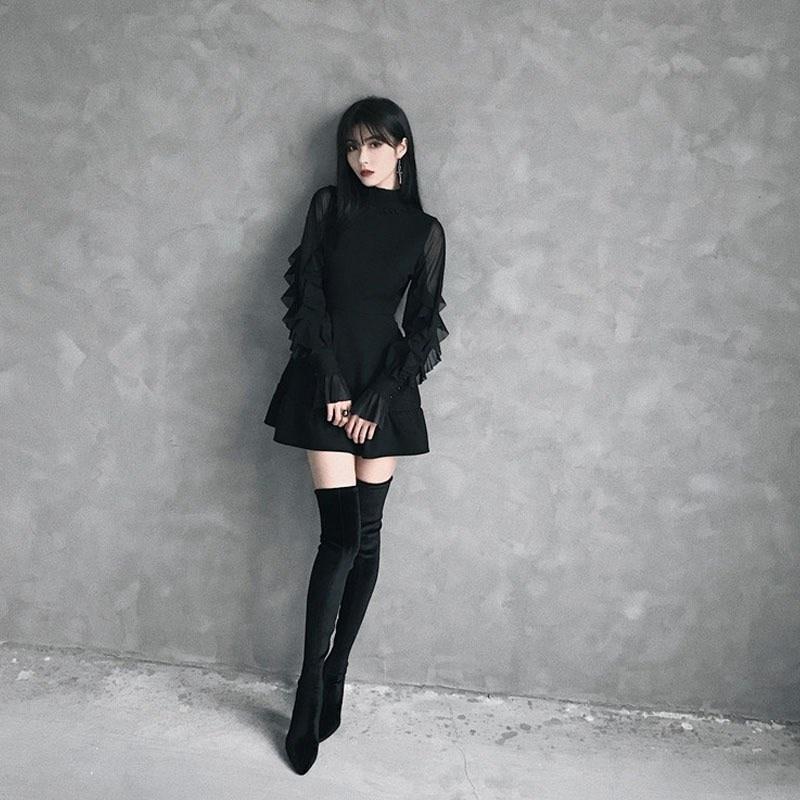 2019 été femmes papillon manches Mini robe Style Punk gothique Stand volants cou robe noire taille haute a-ligne robes Sexy - 3