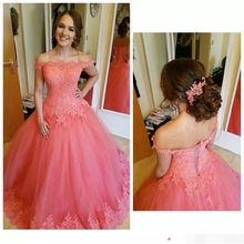 Coral Quinceanera Dresses 2019 Off The Shoulder Top Lace Appliques Lace Up Ball Gown Girls Pageant Personalized Prom Dress contrast lace open the shoulder top