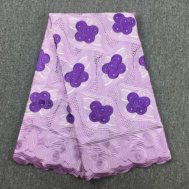 Высокое качество Африканский швейцарский хлопок вуаль кружева 815 сиреневый + фиолетовый, (5 метров/упаковка), 100% хлопок свадебные туфли в афр