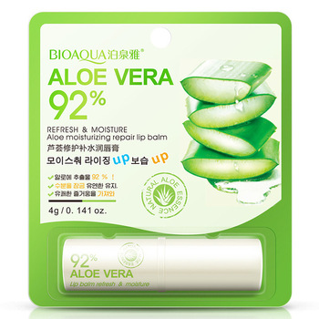 HOT BIOAQUA Natural Aloe Moisturizing Lip Balm Colorless Refine repair lip wrinkles For Woman Winter Lip Care Free shipping 1