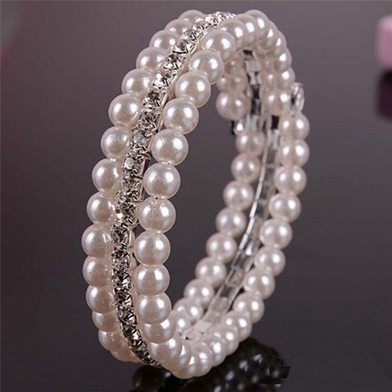 New Fashion 2 Rows White Faux Simulated Pearl Rhinestone Stretch Women Bracelets Bangles Best Gift