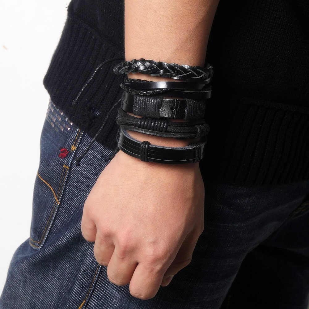 W stylu Vintage liść z piór wielowarstwowe skórzane bransoletki dla kobiet mężczyźni moda pleciony Charms gwiazda liny Wrap bransoletka zestaw mężczyzna prezent