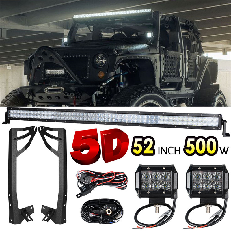 1 x 52 inch 300W 5D LED Light Bar Combo Straight Offroad + 2 x 18W Light Bar Work Light + Mounting Brackets for Jeep Wrangler JK auxmart 22 led light bar 3 row 324w for jeep wrangler jk unlimited jku 07 17 straight 5d 400w led light bar mount brackets