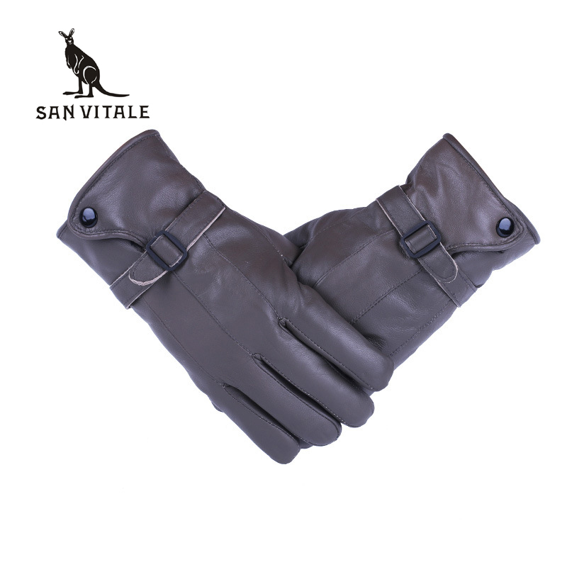 Fashion Genuine Leather <font><b>Gloves</b></font> <font><b>Men</b></font> Sheepskin Mittens Real Fur Sheep Leather Winter Warm Thickening Windproof <font><b>Gloves</b></font> For <font><b>Men</b></font>