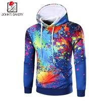 2017 New Fashion Hoodies Brand Men Watercolor Printing Sweatshirt Malemen S Sportswear Hoody Hip Hop Autumn