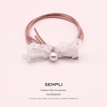 6 Colors Korean High Elastic Hair Version of the small Headband Simple Lace Pearl bow Band Ring hair accessories