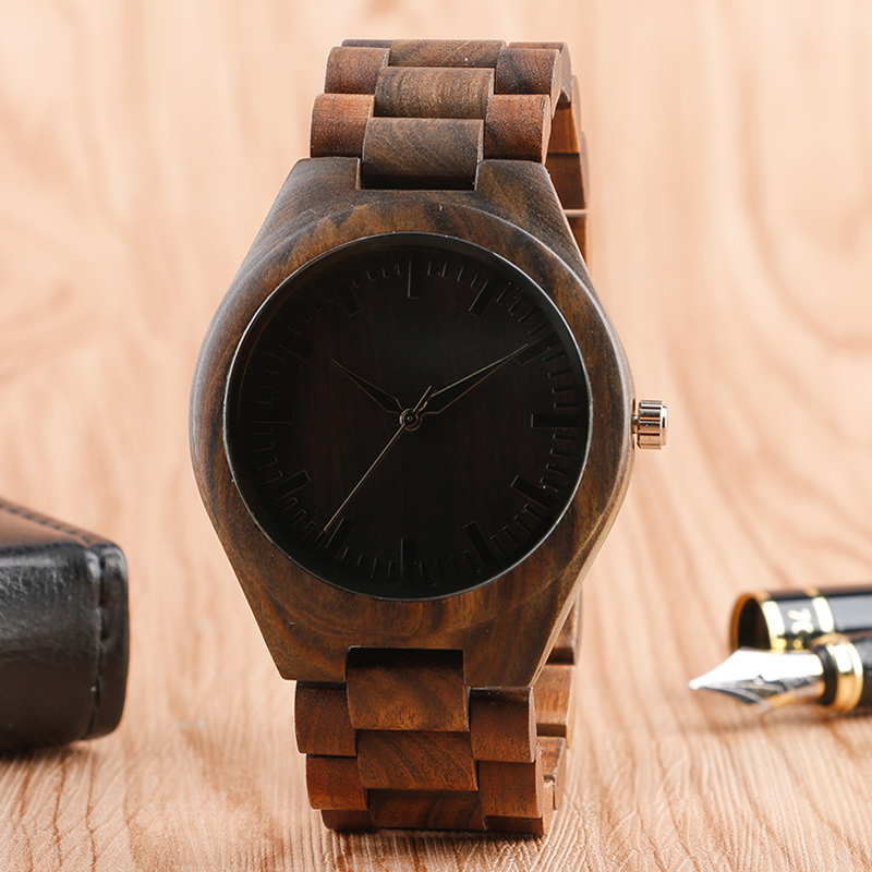Men Watches Fold Clasp Link Bracelet Wrist Watch 100% Nature Wood Bamboo Watches Male Sports Luxury Wooden Quartz Watch Gift