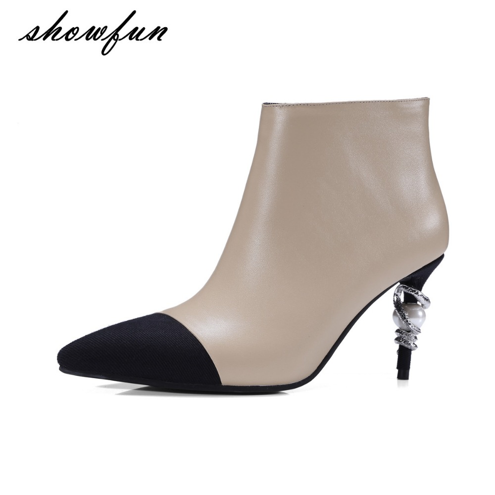 Women's Genuine Leather Pointed Toe Sexy Thin High Heel Autumn Ankle Boots Brand Designer Beading Elegant Short Booties Shoes цены онлайн