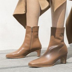 Image 5 - FEDONAS en kaliteli kadın temel çizmeler yan fermuar sıcak yüksek topuklu sonbahar kış bayanlar ayakkabı kadın seksi kare ayak ofis pompaları